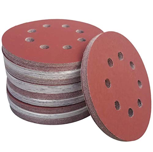 Sackorange 100 PCS 5 Inch 8 Holes Hook and Loop Sanding Disc Sandpaper, 20 pcs Each of 600 800 1000 1500 2000 Grits Sand Paper For Random Orbit Sanders (20 pcs Each of Per Grits)