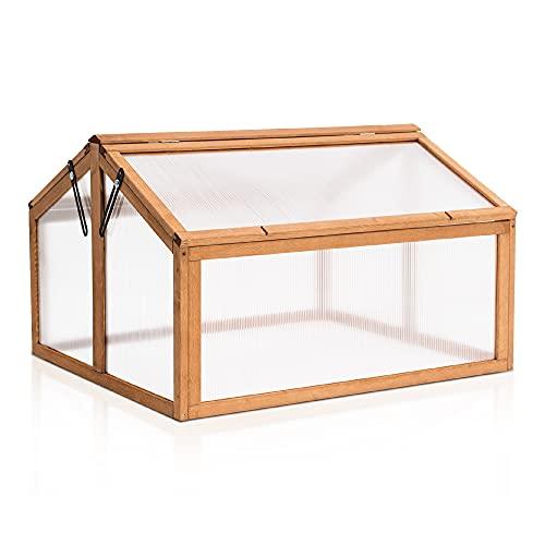 MCombo Frühbeet Gewächshaus Anzuchtkasten Frühbeetkasten Aufsatz Treibhaus 0145, 2 Dachfenster, aus Holz und Polycarbonat für Jungpflanzen
