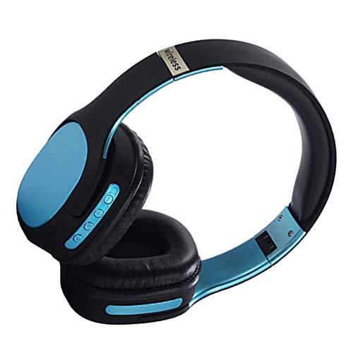 Wsaman Active Cancelación de Ruido Auriculares Bluetooth, Alta fidelidad Estéreo Cascos Inalámbrico Bluetooth con Bass Surround/Reducción de Ruido para PC/Teléfonos Celulares/TV,Azul