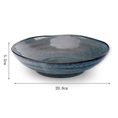 GAXQFEI Cclla Ensalada Cuencos Cerámico Grano Tazón Azul Glaseado Ramen Cuenco Restaurante Sopa de Sopa Fruta Ensalada de Fruta Tazón de Arroz,7.5 Pulgadas