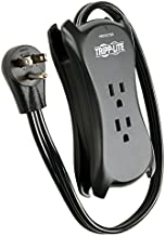 Tripp Lite 3 Outlet Portable Surge Protector Power Strip, 18in Cord, 2 USB, & $25,000 INSURANCE (TRAVELER3USB) Black