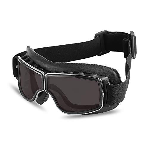 Occhiali Harley retrò occhiali antivento antivento sabbia e sabbia Occhiali da cavallerizza Harley in pelle di personalità-Brown+silver