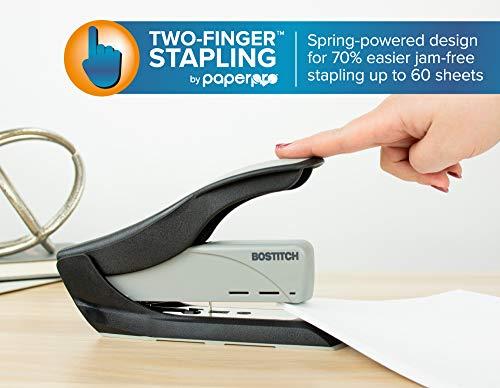 Bostitch 60 Sheet Heavy Duty Stapler - Two Fingers, No Effort, Spring Powered Stapler - Gray (1200) Photo #3