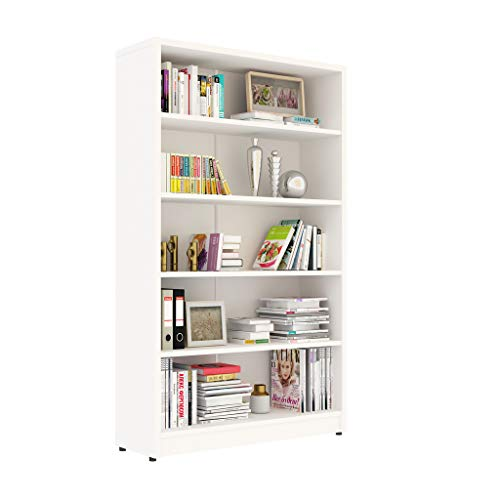 Sunon Collection 5-Shelf Wood Bookcase Freestanding Display Bookshelf for Home and Office, Assembly Required (5-Shelf, White)