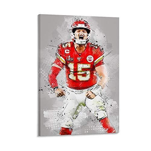 QWSDE NFL Kansas City Chiefs Patrick Mahomes Sportposter, Leinwandkunst, Poster und Wandkunst, Bild, Druck, moderne Familie, Schlafzimmer, Dekoration, Poster, 30 x 45 cm