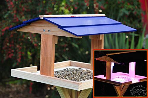 vogelfutterhaus,XXL,mit Licht,DACH BLAU,MIT Beleuchtung,LED-Licht / Vogelhaus,wetterfest IN NATUR HOLZ,BEL-VIERDABLA-BEL-natur002 groß, PREMIUM Vogelhaus KOMPLETT mit Ständer,WETTERFEST, Holz futterhaus für Vögel,MIT,Vogelfutter-Station Farbe natur,Ausführung Naturholz MIT WETTERSCHUTZ-DACH für trockenes Futter - 2