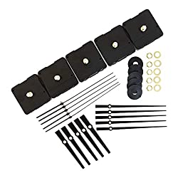 Bjerg Instruments 5 Pack Bulk Clock Parts with Replacement Movement Mechanism and Hands for 9 or 10 inch Clock (Modern)