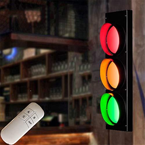 LED Ampel Wandleuchte Restaurant Kinderzimmer Einstellbar Fernbedienung Wandlampe Wandstahler Effektlampe Rot/Grün/Gelb Bar Café Wandbeleuchtung Verkehrszeichen Schilder Lichter, aus Eisen und Glas