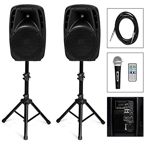 GOFLAME 1800W 2-Way Powered Speakers, Portable PA Speaker System with 2 Speaker Stands and Microphone, Professional DJ Speakers with Bluetooth, USB/SD Card Input, FM Radio, Remote