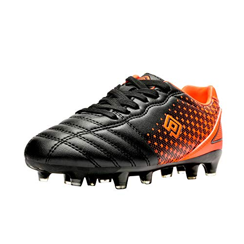 DREAM PAIRS Boys Girls SUPERFLIGHT-1K Outdoor Football Shoes Soccer Cleats Black/Orange Size 1 Little Kid