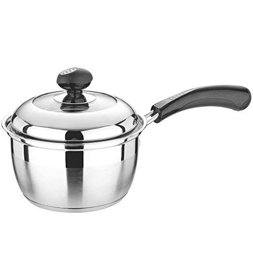 XJJZS Stainless Steel Saucepan with Lid, Multipurpose Sauce Pan for Kitchen Restaurant Cooking, Visible Glass lid Heat-Proof Handles