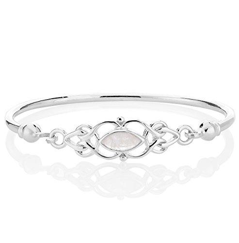 DTPsilver - Damen - Armreif 925 Sterling Silber und Mondstein - Keltische Knoten -