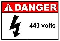 440 Volts Danger 金属板ブリキ看板警告サイン注意サイン表示パネル情報サイン金属安全サイン