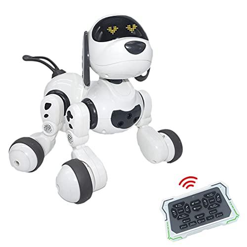 JUGUETECNIC │ Dexterity, el perro robot interactivo para Niños │ Canta, Baila y tiene Movimiento Teledirigido│ Programable con batería y cable cargador USB │ Mascota realista