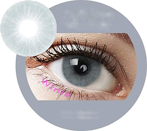 Pony Gray: Farbige Jahres Kontaktlinsen ohne Stärke mit Aufbewahrungsbox grau weich, als 2er Pack (2 Stück) angenehm zu tragen, perfekt für helle und dunkle Augen