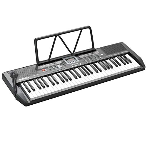 LAGRIMA LAG-730 61 Key Portable Electric Keyboard Piano with Built In Speakers, LED Screen, Microphone, Dual Power Supply, Music Sheet Stand for Beginner, Kid, Adult, Black