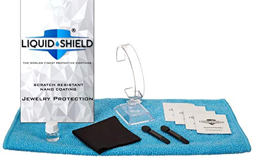 Liquid Shield Jewelry Cleaner Solution – Protective Nano Coating Gold Jewelry Cleaner for Rings, Necklaces, Watches – Protects Against Scratches – Includes Microfiber Cloths, Cleaning Wipes & More