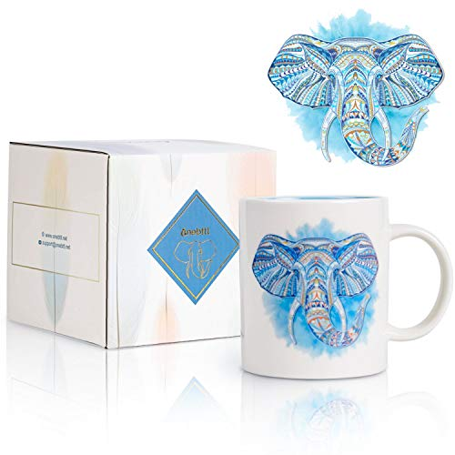 Onebttl Tasse Elefant, 12 oz Kaffeetasse/Teetasse Keramik Tasse mit Geschenkkarte, Geschenke für Frauen/Männer in Weihnachten, Geburtstag