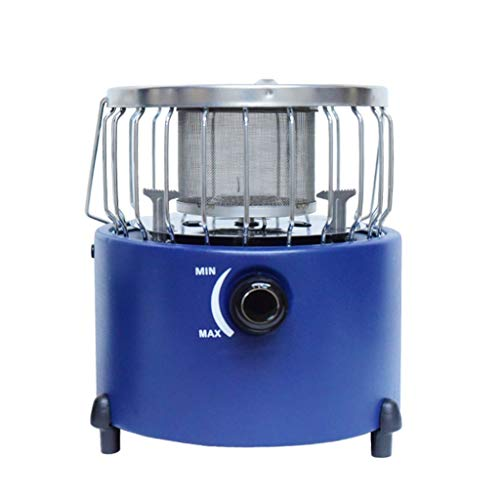 DLT Blu Mini Portatile Handle Camping Patio Heater in Acciaio e Copertura, Ruote, all'aperto butano...