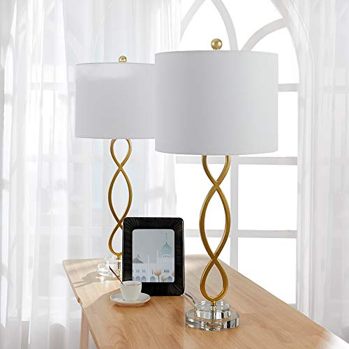 Maxax Crystal &Metal Table Lamp Sets of 2 with White Fabric Shade for Living Room and Bedroom,Gold Finish