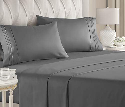 King Size Sheet Set – 4 Piece – Hotel Luxury Bed Sheets – Extra Soft – Deep Pockets – Easy Fit – Breathable & Cooling Sheets – Wrinkle Free – Comfy – Dark Grey Bed Sheets – Kings Sheets – 4 PC