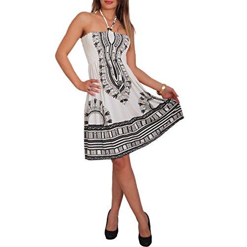 Neckholder Sommer Bandeau Kleid Holz-Perlen Damen Strandkleid Tuchkleid Tuch Aztec (33 Schwarz)