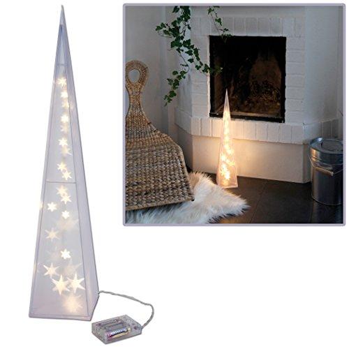 3D Hologramm Weihnachtspyramide 60cm, Weihnachtsbeleuchtung mit 24 LED, 3D STERNENEFFEKT, batteriebetrieben und somit überall einsetzbar