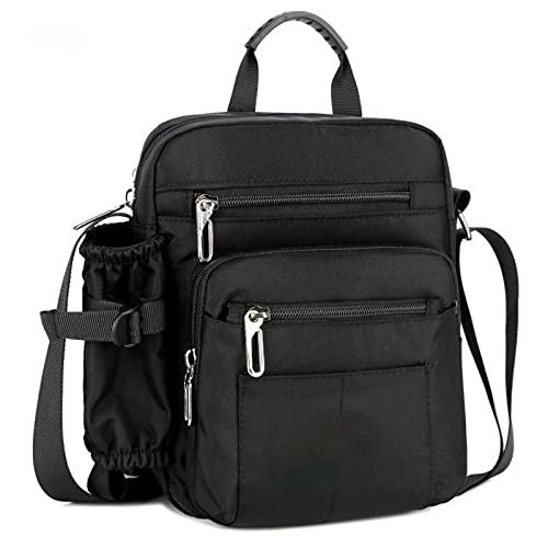 N\C Bolso bandolera de nailon con múltiples compartimentos, estilo informal, de gran capacidad, para hombres y mujeres, para viajes, compras, trabajo