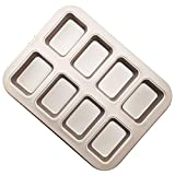 CHEFMADE Brownie Cake Pan, 8-Cavity Non-Stick Rectangle Muffin Pan Blondie Bakeware for Oven Baking (Champagne Gold)