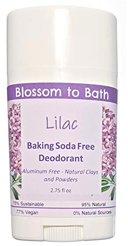 Lilac Baking Soda Free Deodorant (2.75 ounce) - Fresh Blooming Lilacs - Aluminum Free - Natural Clays and Powders. Made in USA by Blossom to Bath