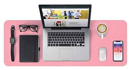 SIGEL SA605 Vade de escritorio - impermeable - imitación de cuero - rosa, silber - doble cara - 80 x 30 cm