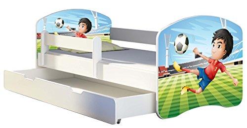 Letto per bambino Cameretta per bambino con materasso Cassetto ACMA II (13 Il calciatore, 180x80 + Cassetto)