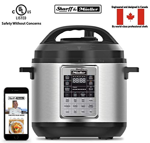 Sharff & Mueller Electric Pressure Cooker 6 Quart Stainless Steel, 12 in 1...