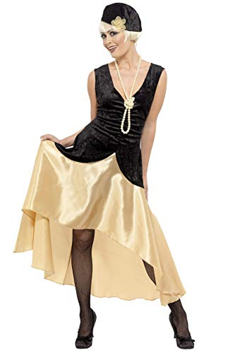 Smiffy's Smiffys-33368X1 Disfraz de Chica Gatsby de los años 20 y Dorado, Vestido, Sombrero y Collar de Perlas, Color...
