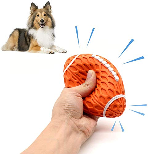 Squeaky Dog Toys Ball, Durable Chew Toy, Interactive Rubber Dog Toys for Medium and Large Breed (Orange)