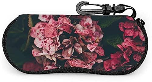 MODORSAN Estuche blando para anteojos con flores de hortensias rojas y flores geométricas arcoíris para mujeres y hombres