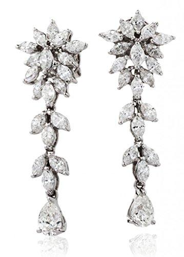 3.50cts Certificato G/VS2diamante forma di pera orecchini pendenti in oro bianco 18K