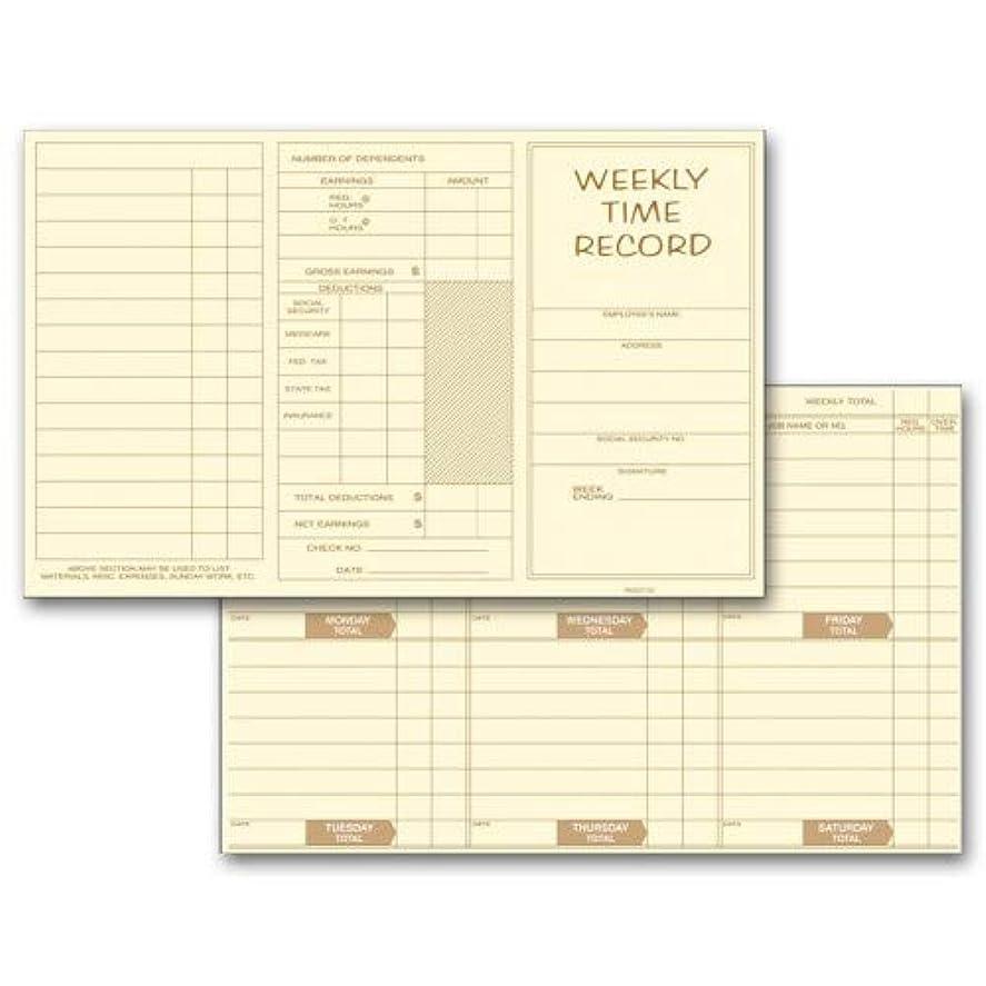 探検構成によるとWeekly従業員時間カード 500