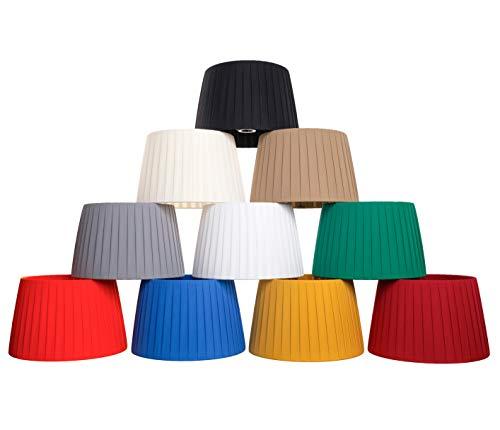 Paralume per lampada in Tessuto di seta di qualità interamente Fatto a Mano (Avorio scuro (tessuto liscio), 40 cm (attacco E27))