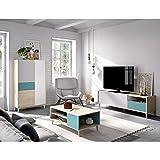 HABITMOBEL Conjunto Mueble Salon: Mueble TV,Vitrina Vertical y Mesa de Centro Acabado Natural y Esmeralda