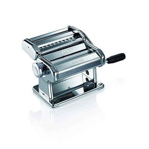 Marcato Classic Atlas AT-150-CLS Macchina per la Pasta in Casa - lasagne (larghezza 150 mm), fettuccine (6 mm) e tagliolini (1.5 mm) - Acciaio Cromato, Argento