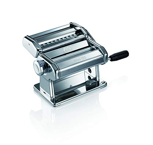Mejor Marcato Design Atlas 150 Pasta Machine, Made in Italy, Includes Cutter, Hand Crank, and Instructions, Silver crítica 2020