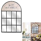 THE HOME DECO FACTORY Miroir Industriel Bois et métal La Vie en Famille