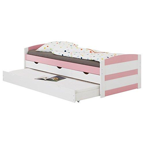 IDIMEX Lit gigogne Jessy lit Enfant Fonctionnel avec tiroir-lit et rangements 3 tiroirs, Couchage 90 x 200 cm 1 Place/1 Personne, en pin Massif lasuré Blanc et Rose