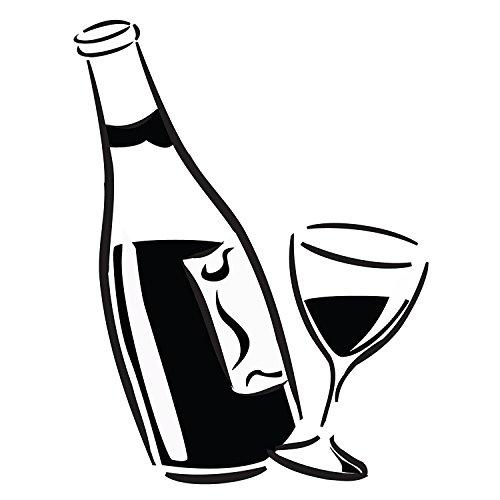 Huante Kitchen - Adhesivo para copa de vino y botella profesional de PVC brillante