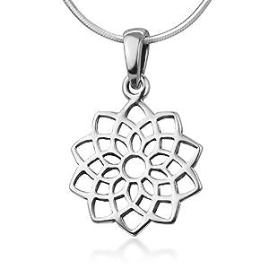 "Chuvora 925 Sterling Silver Filigree Sahasrara Crown 7th Seventh Chakra Symbol Healing Pendant Necklace 18"""