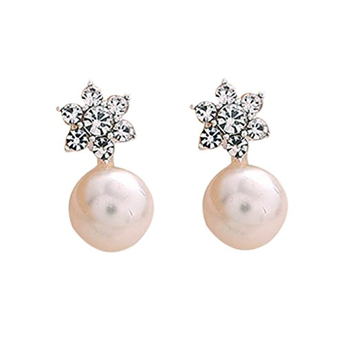 zhibeisai 1 Par Mujeres Niñas Copos de Nieve Pendientes de imitación Aretes de Perlas de Cristal Flor Stud