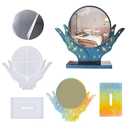 VERTTEE - Stampo in resina a forma di mano, con 5 specchi, in silicone, ideale per il trucco e la decorazione della casa