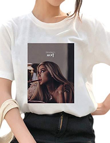 Trend Singer per Ariana Grande T-Shirt per Donna Ariana Grande Maglietta Thank u Next Tee Maniche Corte T-Shirt Top Camicetta per Uomo Donna Ragazza (Bianco6,S)