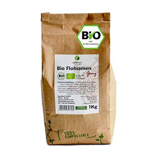 Superkost BIO Flohsamen, ganz, ohne Zusätze in Kompostierbarer, wiederverschließbarer, umweltfreundlicher Verpackung, 1 kg